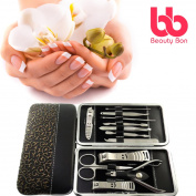 Beauty Bon 12-Piece Stainless Steel Manicure and Pedicure Nail Clippers Set with Portable Case