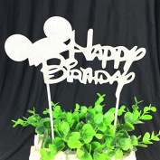 HAPPY BIRTHDAY CAKE PICK TOPPER DECORATION GLITTER CALLIGRAPHY
