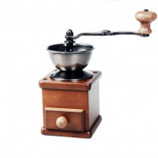 Manual Coffee Grinder Wooden Metal Burr Adjustable Classic Retro Coffee Bean Spice Grinder,Brown