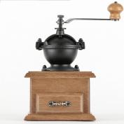 Manual Coffee Grinder Wooden Metal Burr Adjustable Classic Retro Coffee Bean Spice Grinder,OneColor