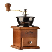 Manual Coffee Grinder High-quality Wooden Vintage Style Coffee Machine With Cast Iron Grinding Core,Brown