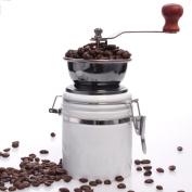 Manual Coffee Grinder Ceramic Grinding Core Adjustable Classic Retro Coffee Bean Spice Grinder,White-Height17cm*Diameter8.5cm