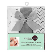 American Baby Company 100% Cotton Muslin Swaddle Blankets, Grey (120cm x 120cm ), 3 Count