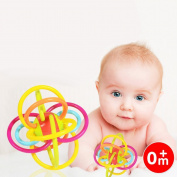 Qiyun Teether Ball Baby Toddler Toy Colourful Rattle Ball Non-toxic Silicone Sensory Teether Activity Toy