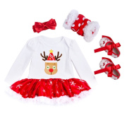 Toddlers Dress, Fascigirl Baby Christmas Dress Long Sleeve Tutu Dress with Hair Band Socks and Shoes