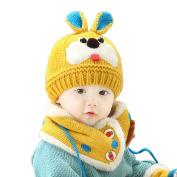 Bluelans Kids Baby Girls Boys Winter Knitted Wool Fleece Cartoon Rabbit Beanie Scarf Set
