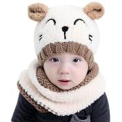 Bluelans Cute Cat Baby Toddler Autumn Winter Warm Round Hat Beanie Cap + Scarf Set
