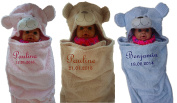 Baby Blanket with Embroidered Name Baby Blanket in 3 Colours 3D Hood Gift Birth