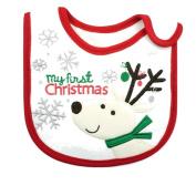 Super Cute Festive Baby Girls Boys Feeding Christmas Bib My First Christmas White Reindeer