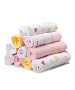Spasilk 10 Pack Washcloths, Pink Flower Print