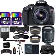 Canon EOS Rebel T6 Digital SLR Camera Body + EF-S 18-55mm IS II Lens + 58mm Telephoto & Wide Lenses + Case + Flash + ND & UV Filter Set + 48GB SD Memory + Tripod + Full Accessory Kit