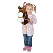 Pink Papaya stick horse, Happy, sweet plush toy horse with neighing and galloping sounds - Colour