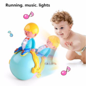 JACKY-Store Toddler Tumbler Musical Toys for Babies Multi-function Light Music Running Tumbler Toys for children,Bluester Musical Toys for Toddlers