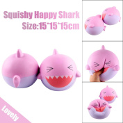 Toamen Newest Stress Relieve Toys, Cute 15cm Pink Lovely Happy Shark Squishies Toy Slow Rising Relieves Stress Soft Toy for Children and Adult, Fidget Toys Home Décor