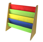 Kids Book Storage Rack Wooden Sling Bookshelf With Primary Colours – by Nuovva