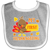 Inktastic My First Thanksgiving With Turkey And Leaves Baby Bib Cute Animal 1st