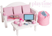 46cm Doll Furniture Sofa & Coffee Table Set w/ Accessories - Playtime by Eimmie Collection