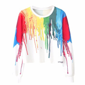 Keepwin Women Casual Colourful Vibrant Long Sleeve Tie Dye Blouse Tops for Sport