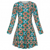 Large Size Women's round Neck Multicolor Printed Long-Sleeved Dress , green , XXL