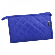 Unique Bargains Grid Pattern Portable Zippered Cosmetic Bag Organiser for Travel Storage Makeup Royal Blue w Mirror