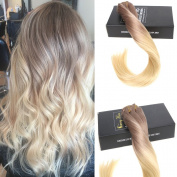 Sunny 46cm Remy Straight Clip in Hair Extensions Two Tone Brown to Bleach Blonde Remy Clip in Human Ombre Hair 7pcs/120g