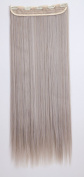 Clip in Hair Extensions 70cm Ash Blonde mix Silver Grey Long Straight 3/4 Full Head One Piece 5 Clips 140g Best for Women