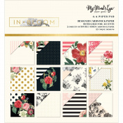 My Mind's Eye Double-Sided Paper Pad 15cm x 15cm 24/Pkg-In Bloom W/Gold Foil, 12 Designs