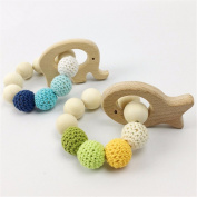baby tete Baby Wooden Teether 2Pc Animal Shaped Bracelet Rattle Chewable Crochet Beads Jewellery Baby Nursing Bracelet Diy Crafts