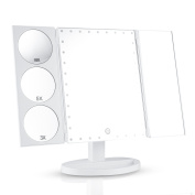 Easehold 35 LED Lighted Vanity Makeup Mirror Tri-Fold with 3X 5X 10X Magnifiers 360 Degree Free Rotation Countertop Bathroom Cosmetic Mirror