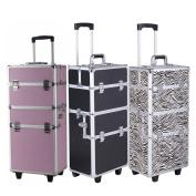 Zimtown 4 Colour Aluminium 3 in 1 Rolling Makeup Trolley Train Case Box Organiser Salon Cosmetic