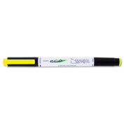 Eco Zebrite Double-Ended Highlighter, Chisel/Fine Point, Fluor Yellow, Dozen