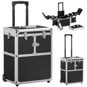 Topeakmart Pro Aluminium Rolling Makeup Case Salon Cosmetic Box Organiser Trolley Beauty Train Case,Black
