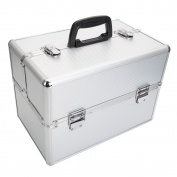 "Zimtown Pro 36cm x 23cm x 10""Aluminium Makeup Train Case Jewellery Box Cosmetic Organiser with Kays Silver"