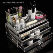 Zimtown Clear Plastic Acrylic Makeup Case Cosmetic Organiser 3 Drawers Holder Jewellery Lipstick Storage Box