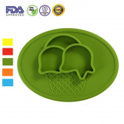 One-piece Silicone Placemat,Highchair and Travel Feeding Tray Portable Baby Suction Placemat Silicone Divided Plate Baby Weaning Food Plate Age 6 Months+,Green Icecream