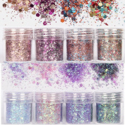 8 Pcs Beauty Nail Glitter Powder,Nail Decoration 3D Mixed Holographic Chrome Pigment Glitters Powder Tips Nail Art Decoration