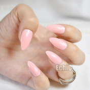 EchiQ Fashion Pink Lotus Colour Oval Sharp end Stiletto False Nails Baby Pink Pointed Fake Nails Tips Manicure Artificial Nails Salon