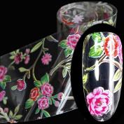 EchiQ 100cmx4cm Glitter Hot Pink Rose Flowers Nail Foil Sticker Glue Transfer Adhesive Decal DIY Beauty Wraps Nail Decoration