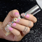 EchiQ Gradient Pink with Glitter False Nail Flowers Rhinestones Gems Long Round Head Fake Nails Full Acrylic Nails Tips