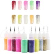 JACKY-Store 10Pcs Nail Art Glitter Powder Kit Mix Powder Sequins 3D Decoration Silver