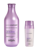 L'Oreal Serie Expert Liss Unlimited Pro Keratin Shampoo 300ml and SOS Smoothing Double Serum 30ml
