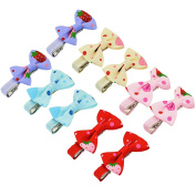 10pcs Strawberry Bowknot Bow Hair Ties for Girl, Ishua Alligator Hair Clip Barrettes for Kid Baby Children 5 Colours Sweet Lovely Hair Pins Accessories Tiny Boutique Hair Bows