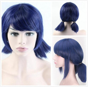 Ladybug Wigs Girls Women Cosplay Double Ponytail Braids Short Straight Wig Blue Hair