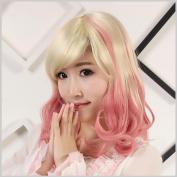 Womens Short Curly Hair Wig Wavy Volume Fluffy Colour Graffiti Wig Wig Cos Animation Head Cover