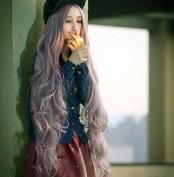 European And American Wig Cosplay Anime Wig Cos Smoke Purple 100Cm Long Curly Hair