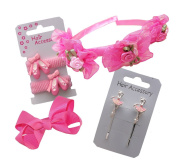 Girls childrens pink hairband and hair clips accessory set for special occasions