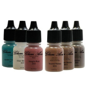 Daring Goddness Set of Six (6) Shades of Glam Air Airbrush Matte Makeup Foundation, Airbrush Blush and Airbrush Eye Shadow Water-based Formula Last All Day (For All Skin Types)5ml Bottles