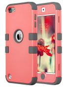 ULAK iPod Touch 5 Case,iPod Touch 6 Case,Hybrid 3 Layer Hard Case Cover with Silicone Shell Case for Apple iTouch Generation 5 6