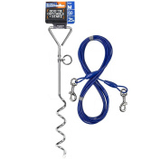 BV Pet 46cm Spiral Stake & 7.6m Tie Out Cable for Dogs Up to 27kg Combo. Outdoor, Yard, and Camping
