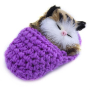 Eshylala 1 PCS Mini Cute Simulation Sleeping Cat Toys With Sound Kittens Cat Toys Doll Plush Toys Birthday Gifts Christmas Decoration,Purple